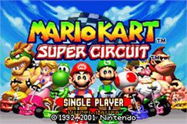 Title screen of Mario Kart Super Circuit on the Nintendo Game Boy Advance.