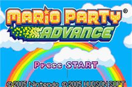 Title screen of Mario Party Advance on the Nintendo Game Boy Advance.