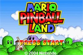 Title screen of Mario Pinball Land on the Nintendo Game Boy Advance.