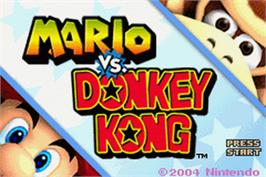 Title screen of Mario vs. Donkey Kong on the Nintendo Game Boy Advance.