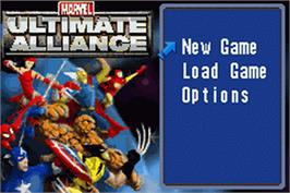 Title screen of Marvel Ultimate Alliance on the Nintendo Game Boy Advance.