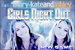Title screen of Mary-Kate and Ashley: Girls Night Out on the Nintendo Game Boy Advance.