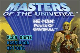 Title screen of Masters of the Universe: He-Man: Power of Greyskull on the Nintendo Game Boy Advance.