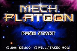 Title screen of Mech Platoon on the Nintendo Game Boy Advance.
