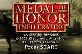 Title screen of Medal of Honor: Infiltrator on the Nintendo Game Boy Advance.
