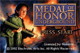 Title screen of Medal of Honor: Underground on the Nintendo Game Boy Advance.