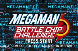 Title screen of Mega Man Battle Chip Challenge on the Nintendo Game Boy Advance.