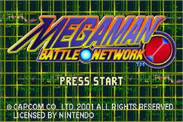 Title screen of Mega Man Battle Network on the Nintendo Game Boy Advance.