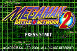 Title screen of Mega Man Battle Network 2 on the Nintendo Game Boy Advance.