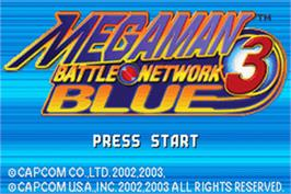 Title screen of Mega Man Battle Network 3: Blue Version on the Nintendo Game Boy Advance.