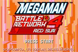 Title screen of Mega Man Battle Network 4: Red Sun on the Nintendo Game Boy Advance.