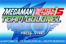 Title screen of Mega Man Battle Network 5: Team Colonel on the Nintendo Game Boy Advance.