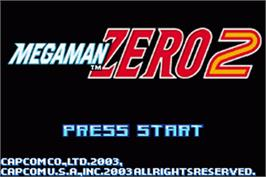 Title screen of Mega Man Zero 2 on the Nintendo Game Boy Advance.