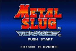 Title screen of Metal Slug Advance on the Nintendo Game Boy Advance.