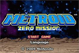 Title screen of Metroid: Zero Mission on the Nintendo Game Boy Advance.