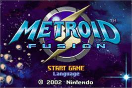 Title screen of Metroid Fusion on the Nintendo Game Boy Advance.