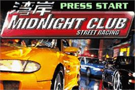 Title screen of Midnight Club: Street Racing on the Nintendo Game Boy Advance.