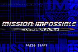 Title screen of Mission Impossible: Operation Surma on the Nintendo Game Boy Advance.
