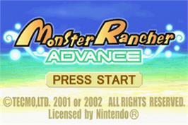 Title screen of Monster Rancher Advance on the Nintendo Game Boy Advance.