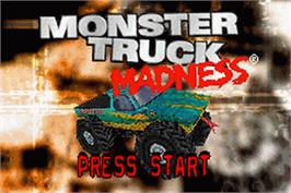 Title screen of Monster Truck Madness on the Nintendo Game Boy Advance.