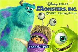 Title screen of Monsters Inc. on the Nintendo Game Boy Advance.