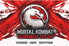 Title screen of Mortal Kombat: Tournament Edition on the Nintendo Game Boy Advance.