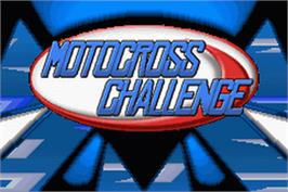 Title screen of Motocross Challenge on the Nintendo Game Boy Advance.