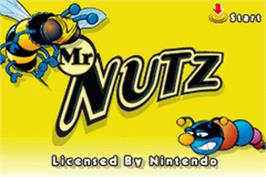 Title screen of Mr. Nutz on the Nintendo Game Boy Advance.
