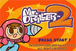 Title screen of Mr Driller 2 on the Nintendo Game Boy Advance.