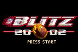 Title screen of NFL Blitz 20-02 on the Nintendo Game Boy Advance.