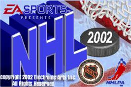 Title screen of NHL 2002 on the Nintendo Game Boy Advance.