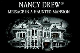 Title screen of Nancy Drew: Message in a Haunted Mansion on the Nintendo Game Boy Advance.