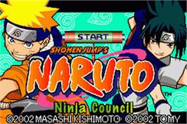 Title screen of Naruto: Ninja Council on the Nintendo Game Boy Advance.