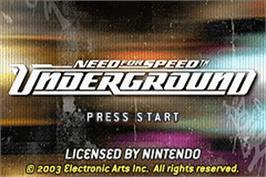 Title screen of Need for Speed Underground on the Nintendo Game Boy Advance.