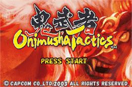 Title screen of Onimusha Tactics on the Nintendo Game Boy Advance.