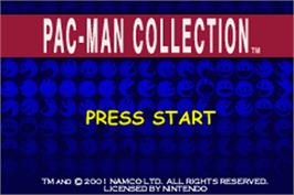 Title screen of Pac-Man Collection on the Nintendo Game Boy Advance.