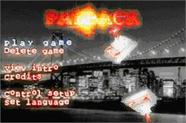 Title screen of Payback on the Nintendo Game Boy Advance.