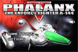 Title screen of Phalanx on the Nintendo Game Boy Advance.
