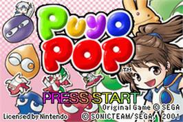 Title screen of Pika Pop on the Nintendo Game Boy Advance.