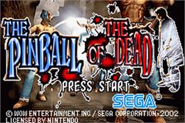 Title screen of Pinball of the Dead on the Nintendo Game Boy Advance.