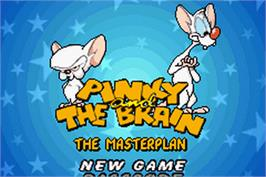 Title screen of Pinky and the Brain: The Master Plan on the Nintendo Game Boy Advance.