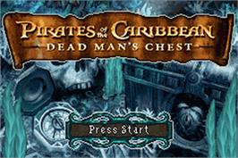 Title screen of Pirates of the Caribbean: Dead Man's Chest on the Nintendo Game Boy Advance.