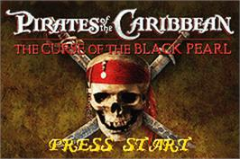 Title screen of Pirates of the Caribbean: The Curse of the Black Pearl on the Nintendo Game Boy Advance.