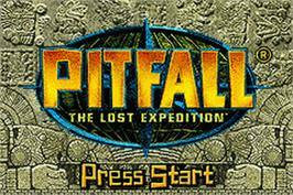 Title screen of Pitfall: The Lost Expedition on the Nintendo Game Boy Advance.