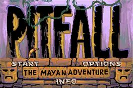 Title screen of Pitfall: The Mayan Adventure on the Nintendo Game Boy Advance.