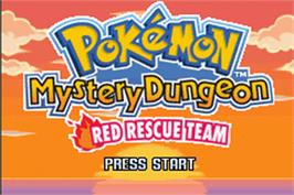 Title screen of Pokemon Mystery Dungeon: Red Rescue Team on the Nintendo Game Boy Advance.