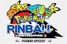 Title screen of Pokemon Pinball: Ruby & Sapphire on the Nintendo Game Boy Advance.