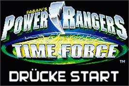 Title screen of Power Rangers: Time Force on the Nintendo Game Boy Advance.