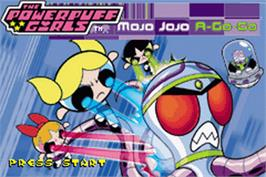 Title screen of Powerpuff Girls: Mojo Jojo A-Go-Go on the Nintendo Game Boy Advance.