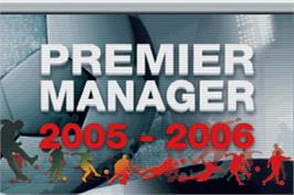 Title screen of Premier Manager 2005-2006 on the Nintendo Game Boy Advance.